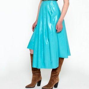 Turquoise Vinyl Pleated Skirt Asymmetrical Hem